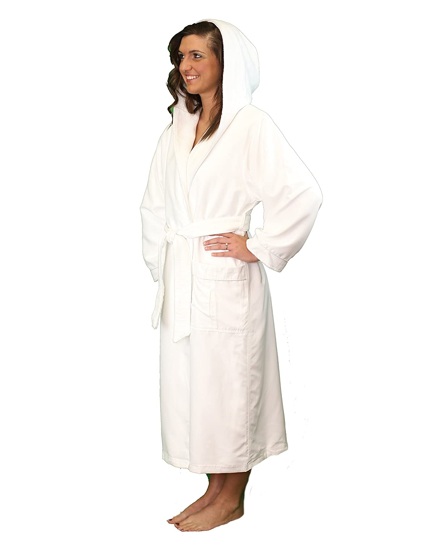 Microfiber Plush Bathrobe with a Hood and Minx Lining - Lightweight Bathrobe for Women and Men CHMPRH3WT00001-$P
