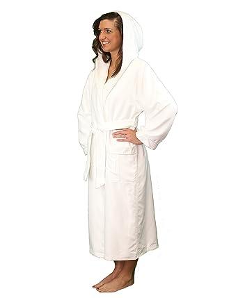 5c2cdbd3bc Microfiber Plush Bathrobe with a Hood and Minx Lining - Lightweight Bathrobe  for Women and Men