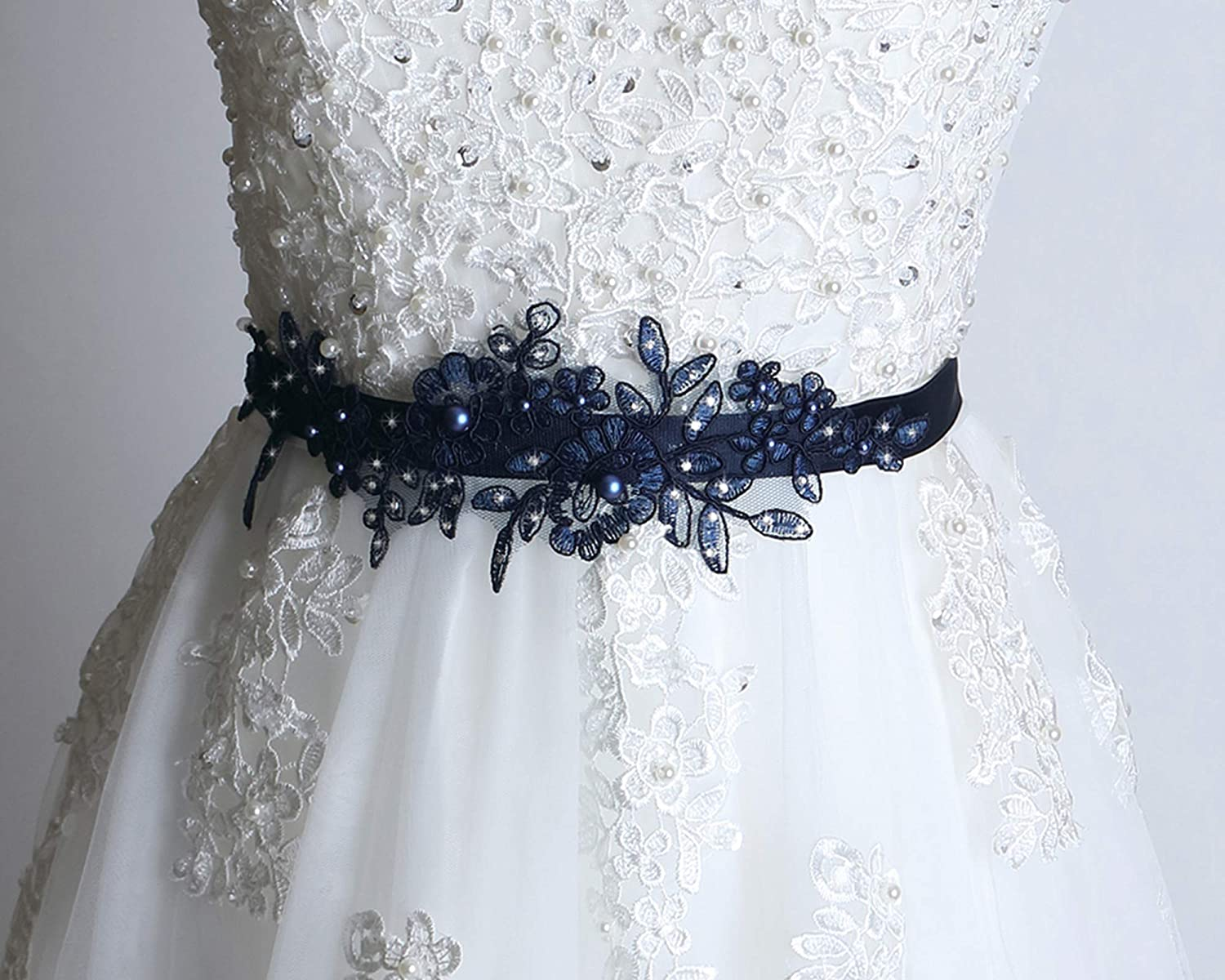 Amazon Com Wedding Dress Sash Navy Sash Belt Swarovski Pearl