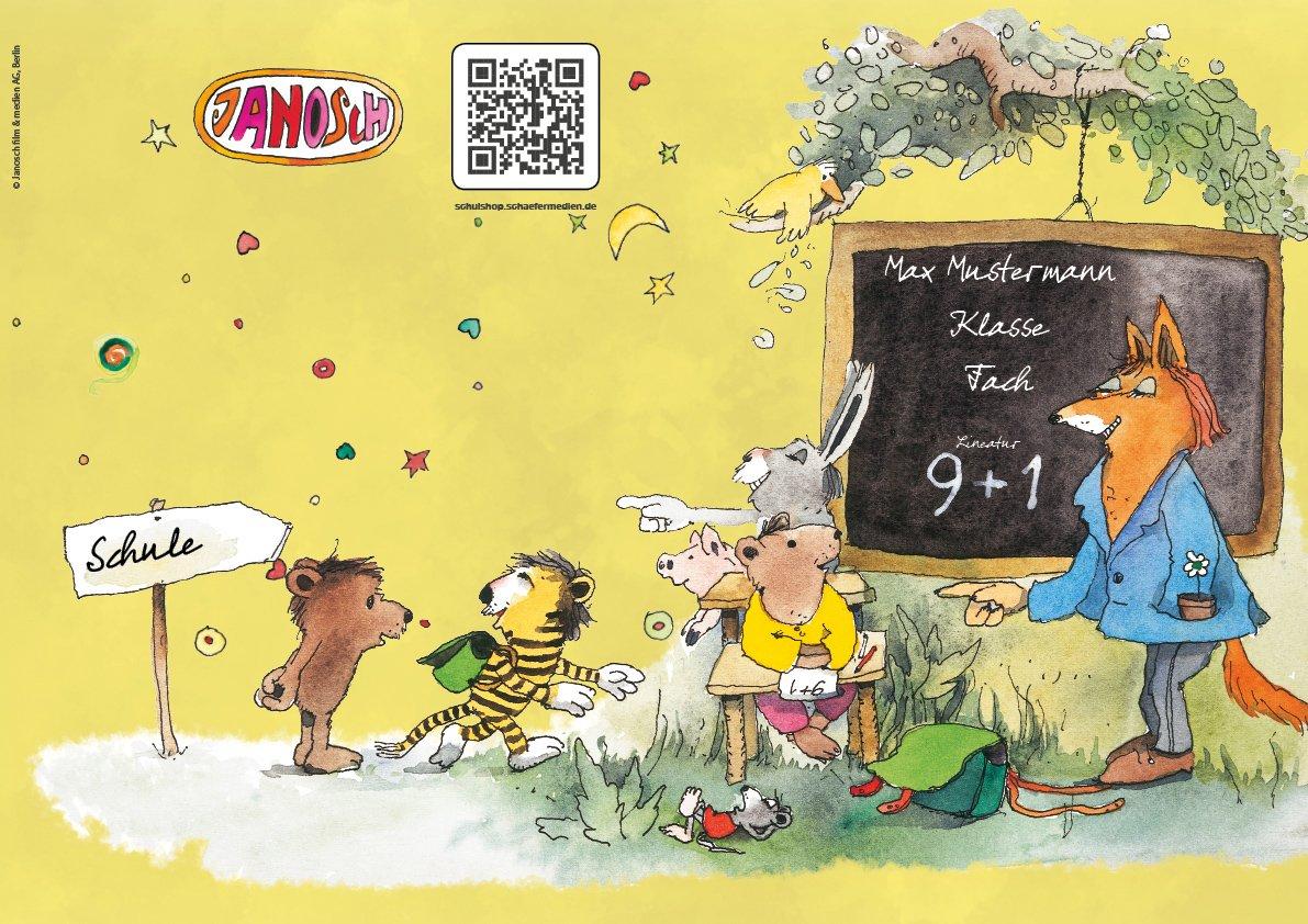 24 lustige JANOSCH-Schulhefte A4, »Fröhliche Schulstunde«, Lineatur 27, MandarinOrange, personalisierbar, 32 Seiten B0784SQ55P   Wunderbar