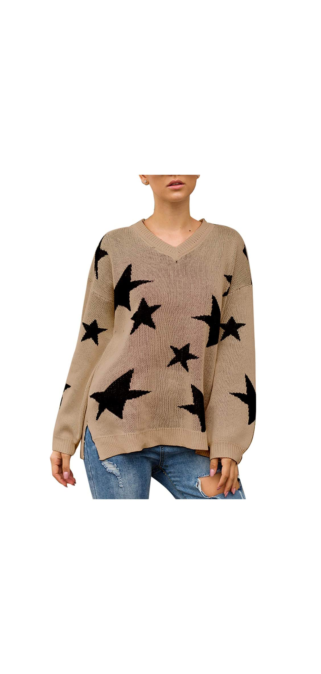 Womens Winter V Neck Lantern Long Sleeve Star Knit