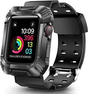 OCYCLONE Compatible for Apple Watch Band 40mm Men, Rugged Bumper Protective Shockproof Resistant Case with Bands Strap Fit with 40mm iWatch Series SE and Series 6 / 5 / 4 for Sport Style Mens, Black