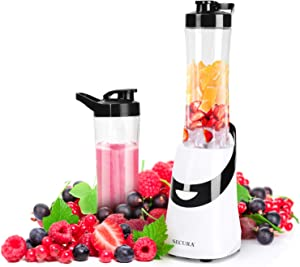 Secura 300W Personal Blender for Shakes and Smoothies | Stainless Blade | 2 (20 oz) Single Serving Bottles with Travel Lids,Black