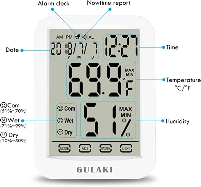 invernadero de medici/ón industrial -20-50 /°C BASSK term/ómetro de alta precisi/ón Higr/ómetro de temperatura para el hogar ideal como regalo para beb/és