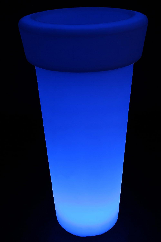 point-garden Blumenkübel LED Farbwechsel 95cm Pflanzkübel beleuchtet Lampe Akku FB
