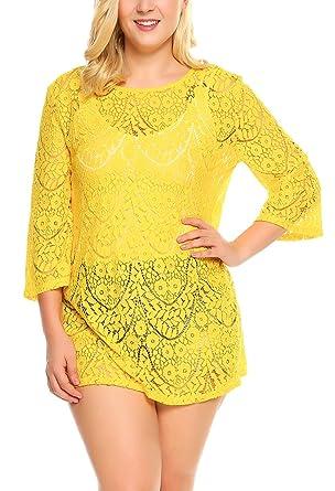 21f169b4d34 IN VOLAND Women Plus Size Lace Floral Beach Blouse Bikini Swimsuit ...