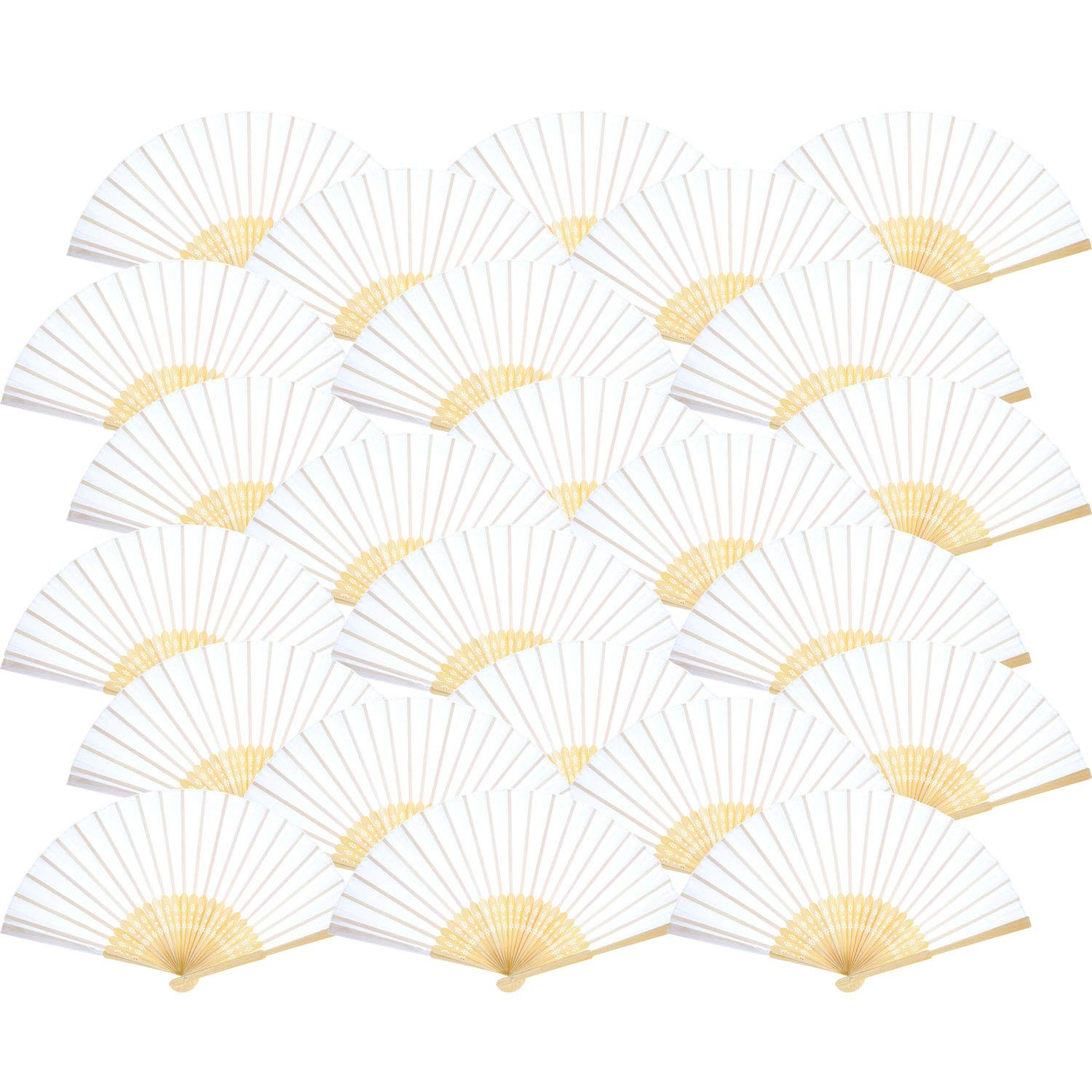Bememo Hand Held Fans Silk Bamboo Folding Fans Handheld Folded Fan for Church Wedding Gift, Party Favors, DIY Decoration (White, 24 Pack)