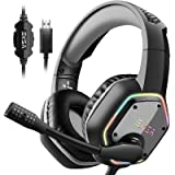 EKSA USB Gaming Headset for PC - Computer Headphones with 7.1 Surround Sound Stereo Noise Canceling Mic/Microphone RGB…
