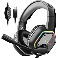 EKSA Gaming Headset with 7.1 Surround Sound Stereo, PS4 USB Headphones with Noise Canceling Mic & RGB Light, Compatible…