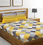 Ahmedabad Cotton 144 TC Cotton Bedsheet with 2 Pillow Covers - King Size, Yellow and Grey