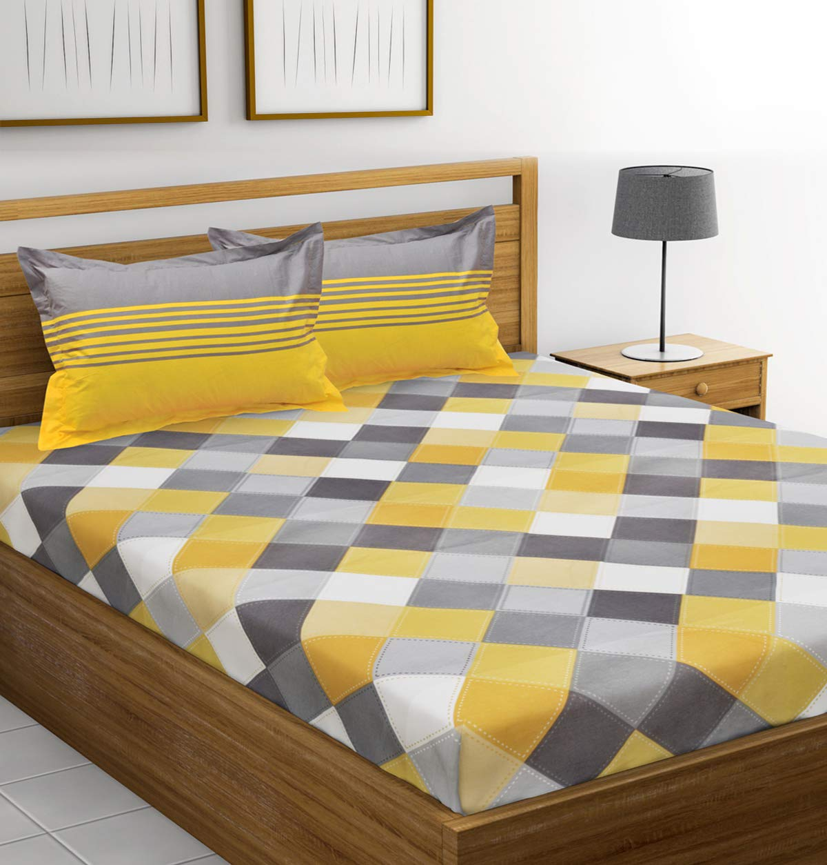 Ahmedabad Cotton 144 TC 100% Cotton Double Bedsheet with 2