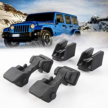 Lock Door Latch Hood Pins Catch Set Kit for 1997-2006 Jeep Wrangler TJ Includes Both Hood Lock 【2Pcs】 Black ABS TJ Hood Latches