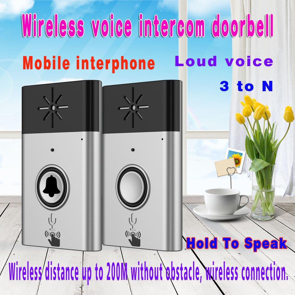 BESTOMZ 2.4G Intercomunicador de Voz Inal/ámbrico Carill/ón Sin Hilos de Puerta de 2 V/ías Interfono Plata