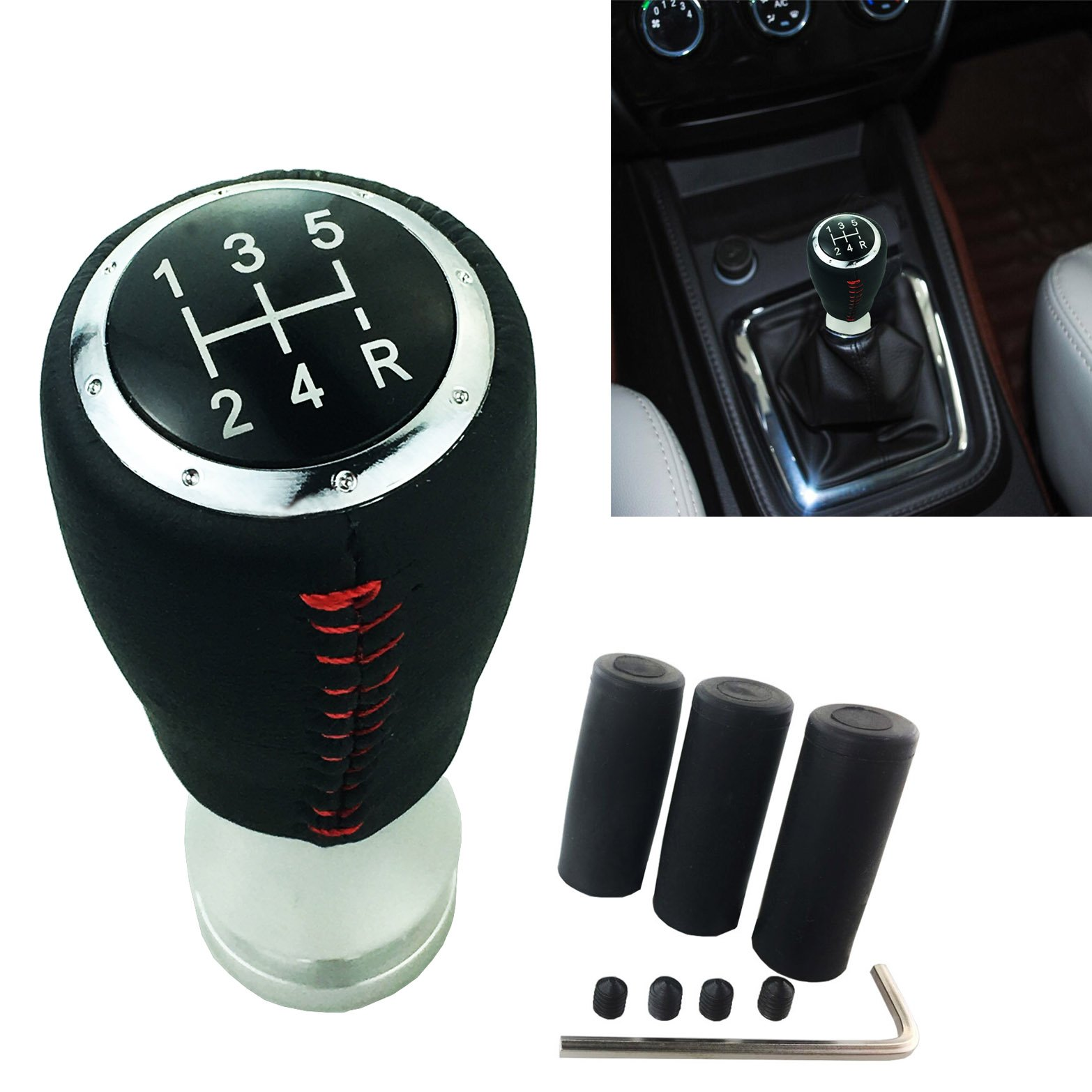 Arenbel New Universal 5 Speed Red Leather Manual and Automatic Car Gear Stick Shifter Knob Shift Lever Fit Most Cars