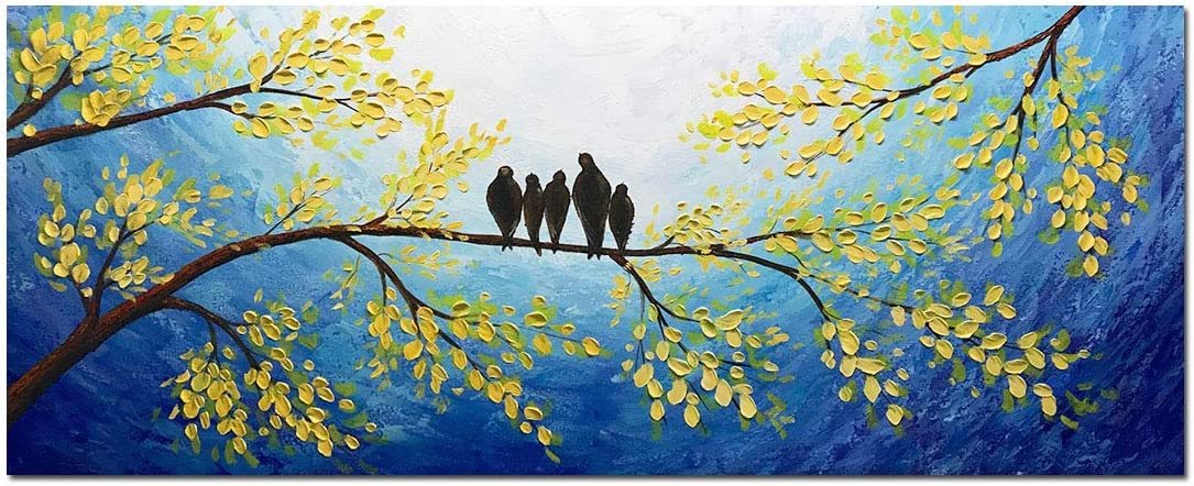 Yotree Paintings, 24×60 Inch Paintings 5 Birds inhabit Trees Oil Hand Painting 3D Hand-Painted On Canvas Abstract Artwork Art Wall Decoration Large Size Without Frame