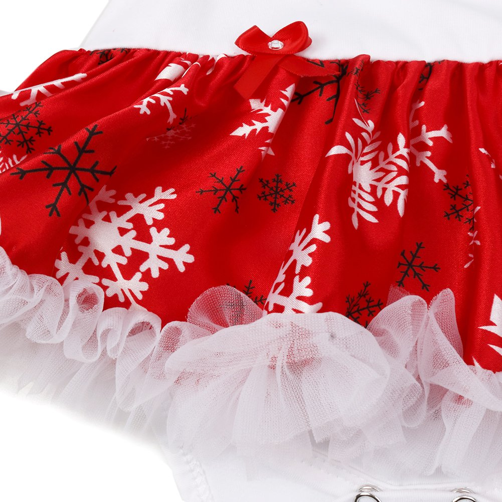 MSemis Infant Baby Girls Christmas 4PCS Outfits Romper with Headband Leg Warmer Shoes