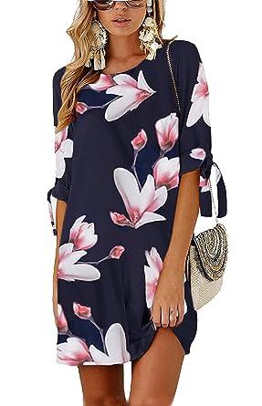 ca28df37b5b Minetom Robe de Femme Soiree Elégante Tunique Robe Été Demi Manches Imprimé  Floral Mini Robe Courte en Vrac Casual Plage Chemise T-Shirt Dress   Amazon.fr  ...