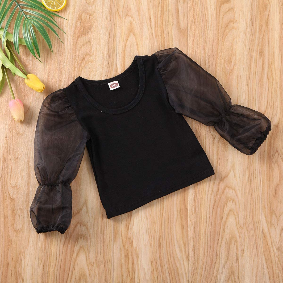 Toddler Baby Girls Mesh Puff Sleeve Crop Top Solid Color Ruffle Flare Blouse T-Shirt Pullover Summer Outfits Clothes