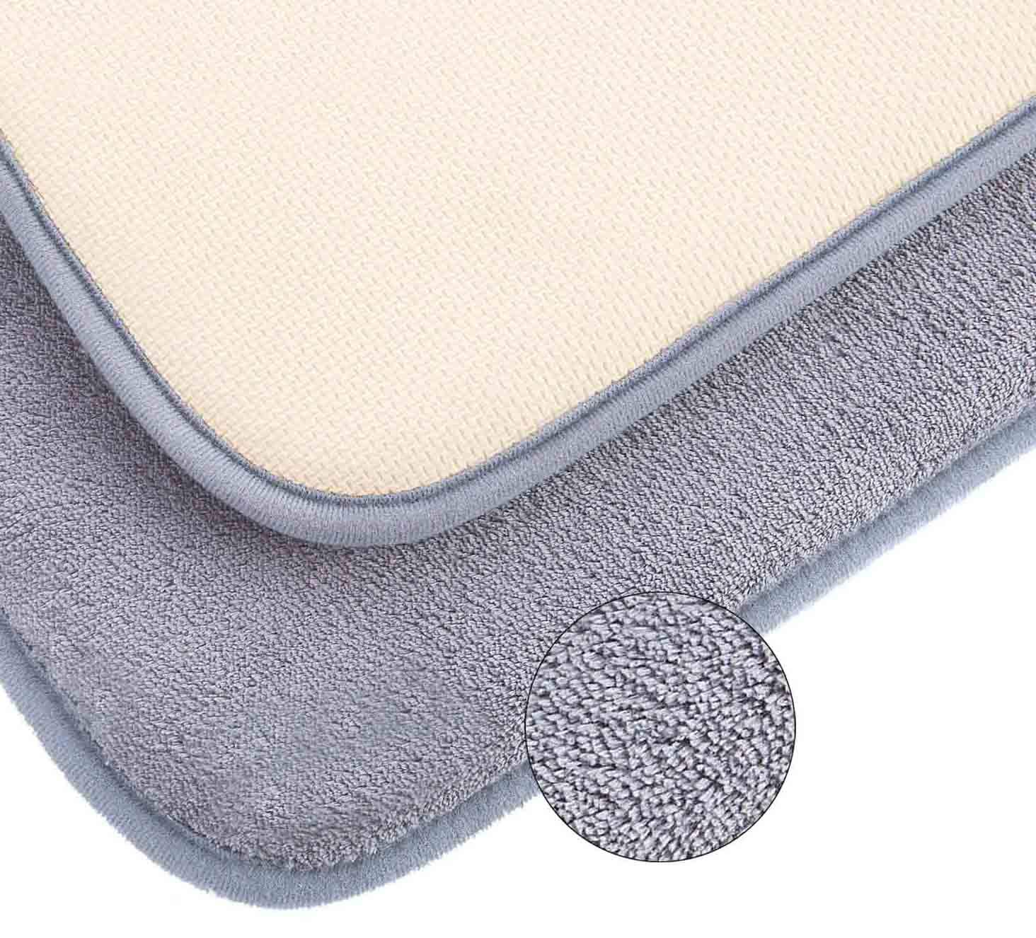Memory Foam Bath Mat Luxurious Large Bathroom Rugs Non Slip with Soft Maximum Absorbency Washable Quickly Drying Floor Mats (20'' X 32'', Gray)