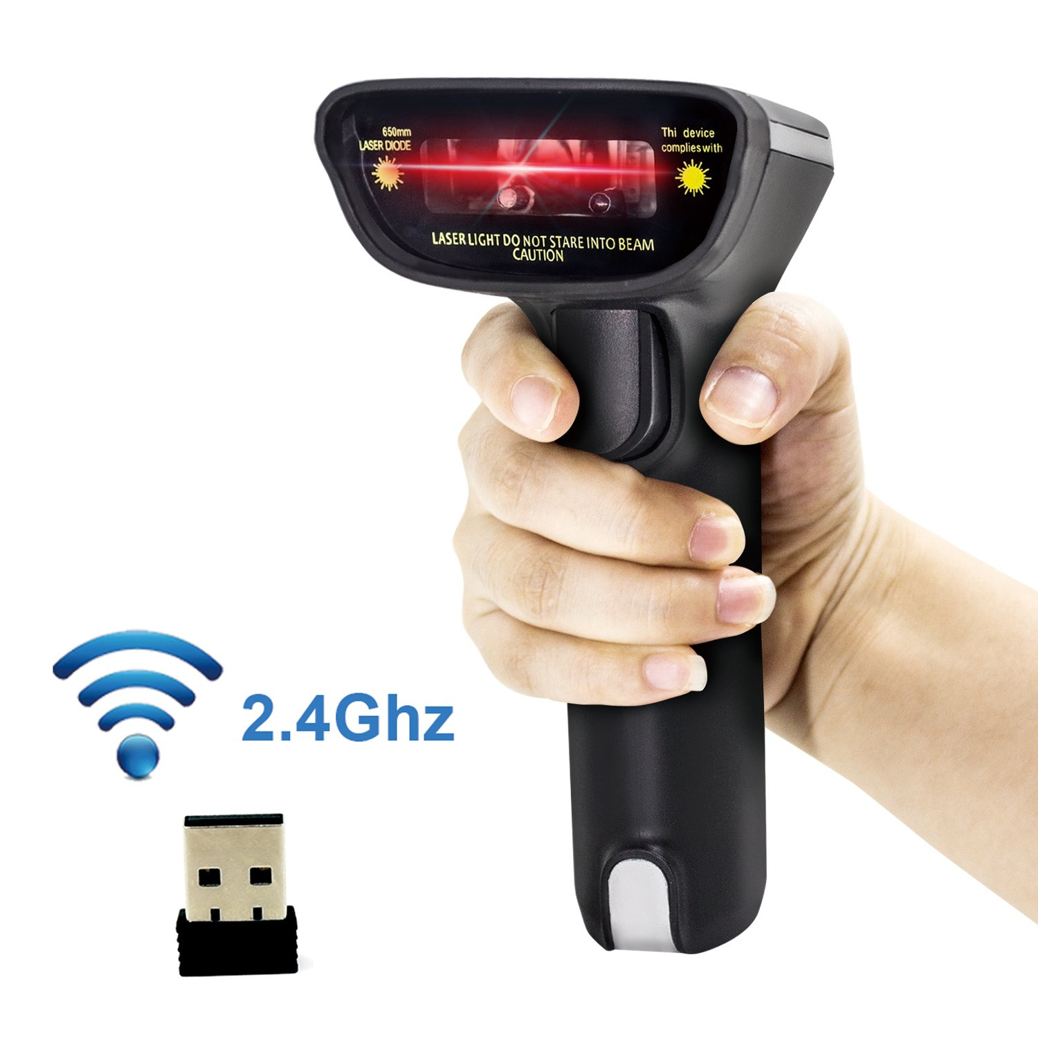 USB Wireless Barcode Scanner,alacrity with Vibration Alert Function Cordless 1D Laser Automatic Barcode Reader Handhold Bar Code Scanner with USB Receiver for Store, Supermarket, Warehouse