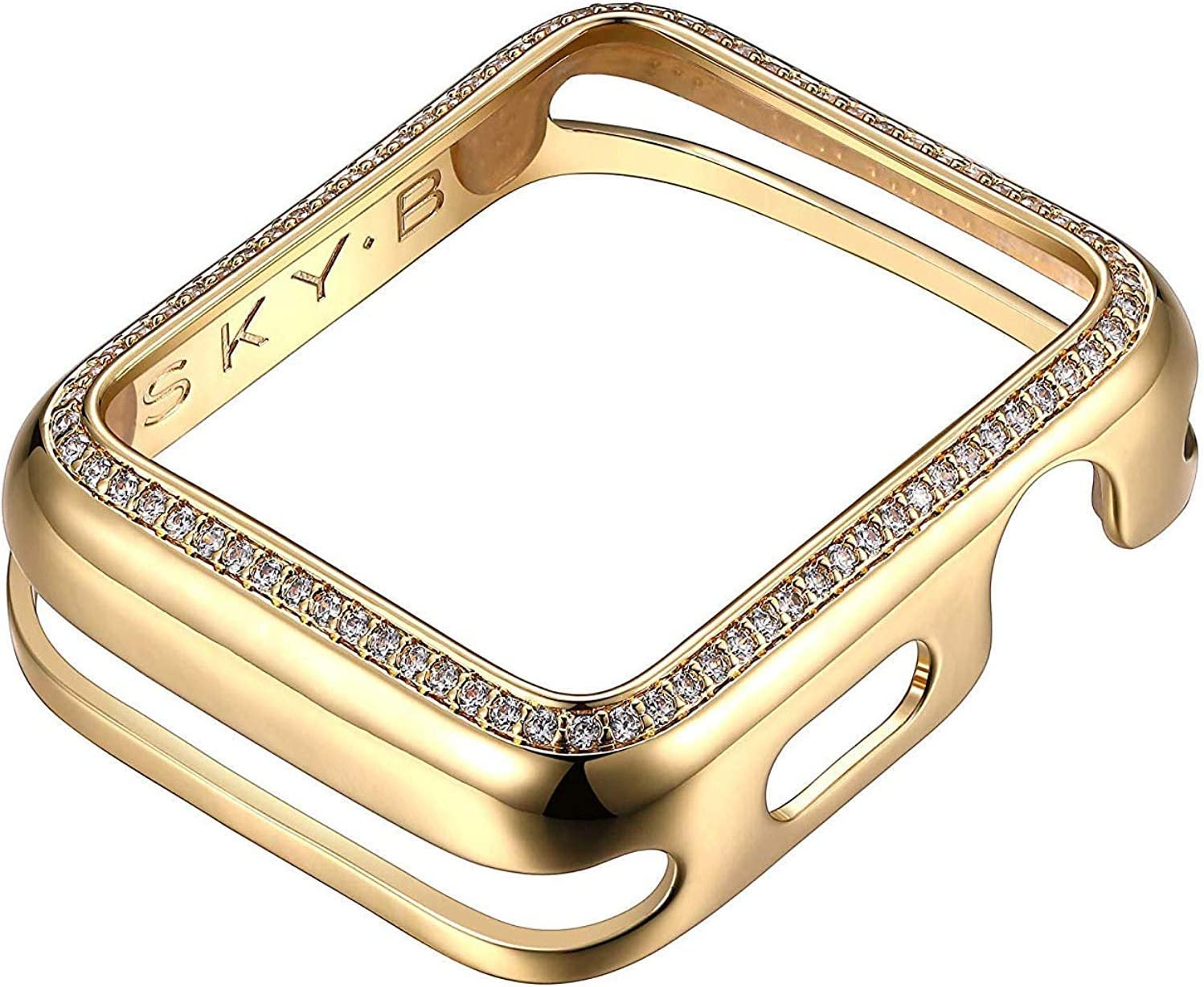 SKYB 18K Yellow Gold Plated Halo Jewelry-Style Apple Watch Case with Cubic Zirconia CZ Border - Medium (Fits 40mm Series 4/5 iWatch)