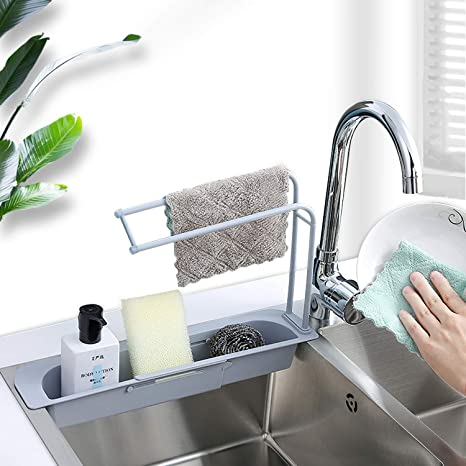 Kitchen Sink Corner Storage Shelf Soap Sponge Drain Holder Bathroom Hanging Rack