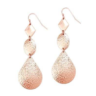 0ac6096be Amazon.com: Pomina Linked Textured Geometric Drop Earrings (Rose ...