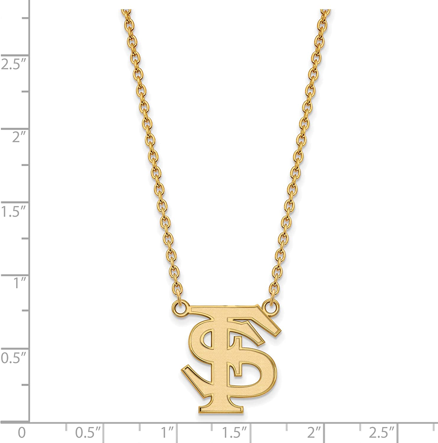 Florida State Seminoles School Letters Logo Pendant Necklace Gold Plated Silver 19x17mm 18 Inches