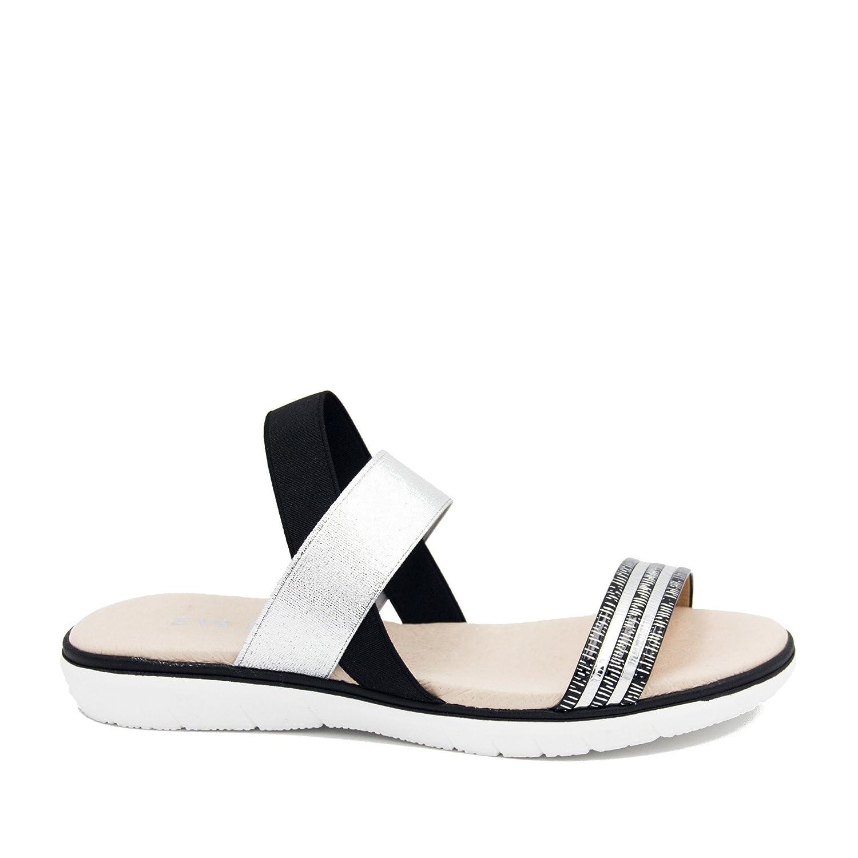 E5011001 Sandalias Con Elasticos de Piel damen schwarz