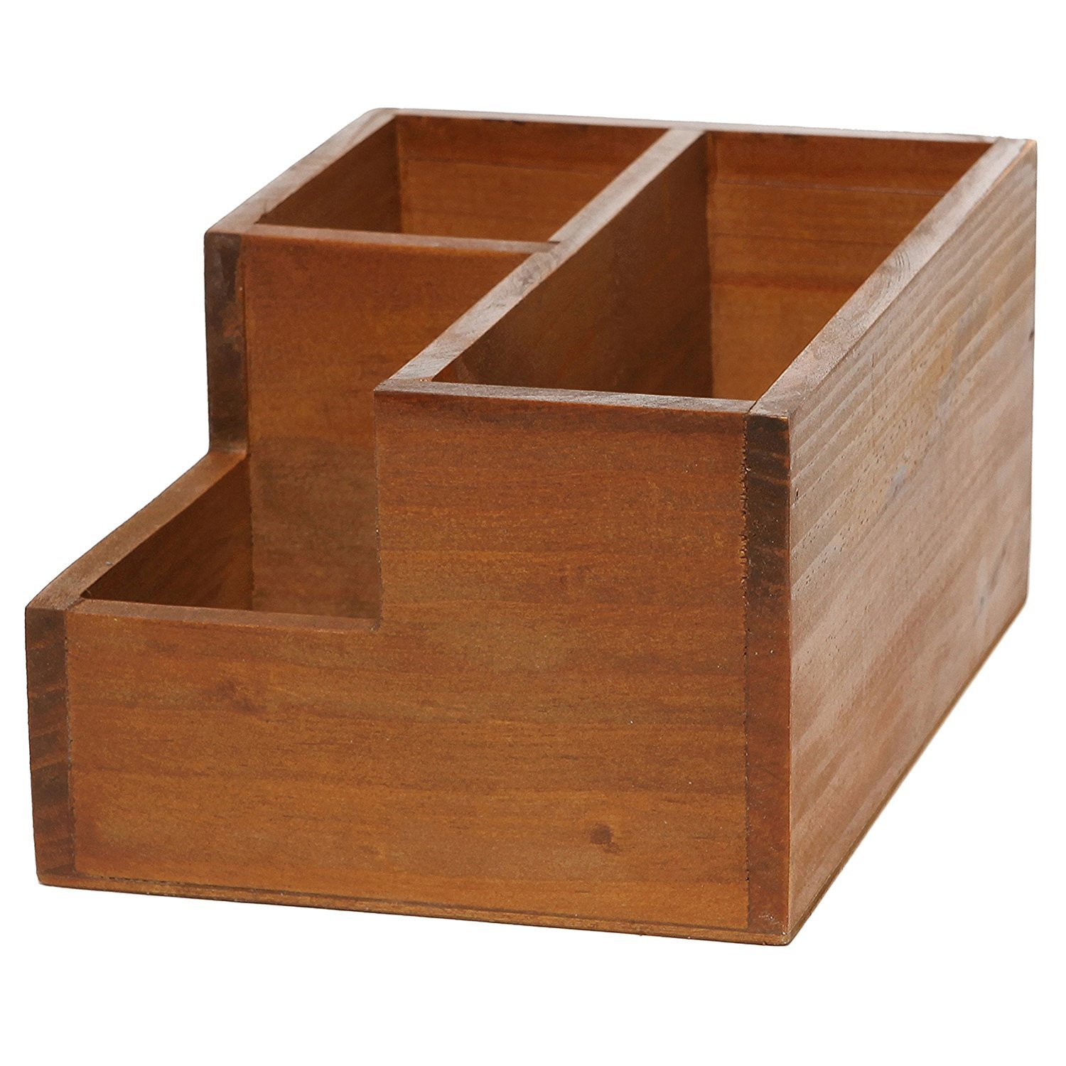 Chris-Wang Multifunctional 3-Compartment Wooden Desktop Office Supply Caddy/Pencil Holder/Desk Mail Organizer/Succulent Plants Planter(Classic Brown) by Chris.W (Image #1)