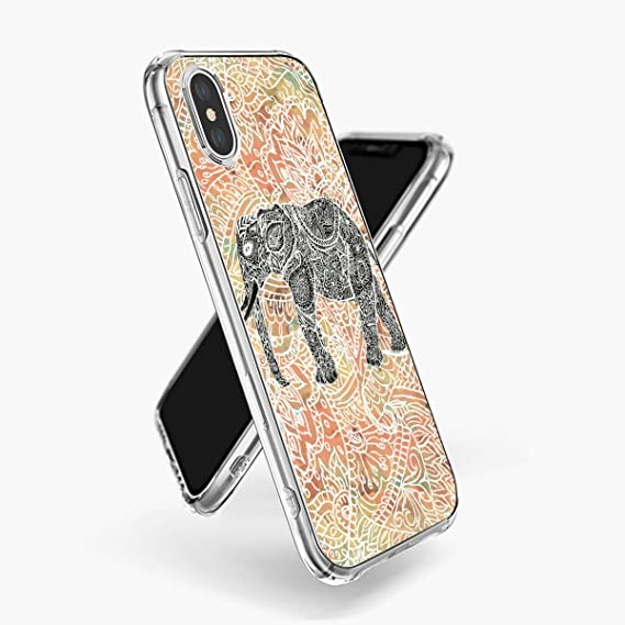 6e2f40b2cb5 cosdesign Clear iPhone Xs Max Case Tribal Paisley Elephant Colorful Henna  Pattern Ultra Thin Slim Shockproof