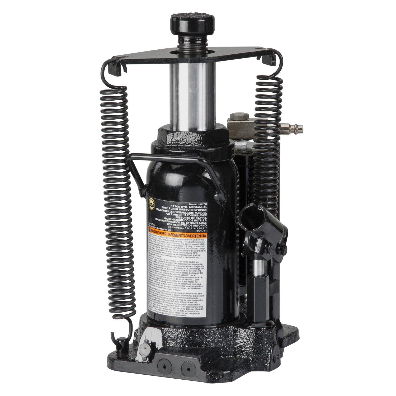 Omega 18126C Black Hydraulic Bottle Jack with Return Springs - 12 Ton Capacity