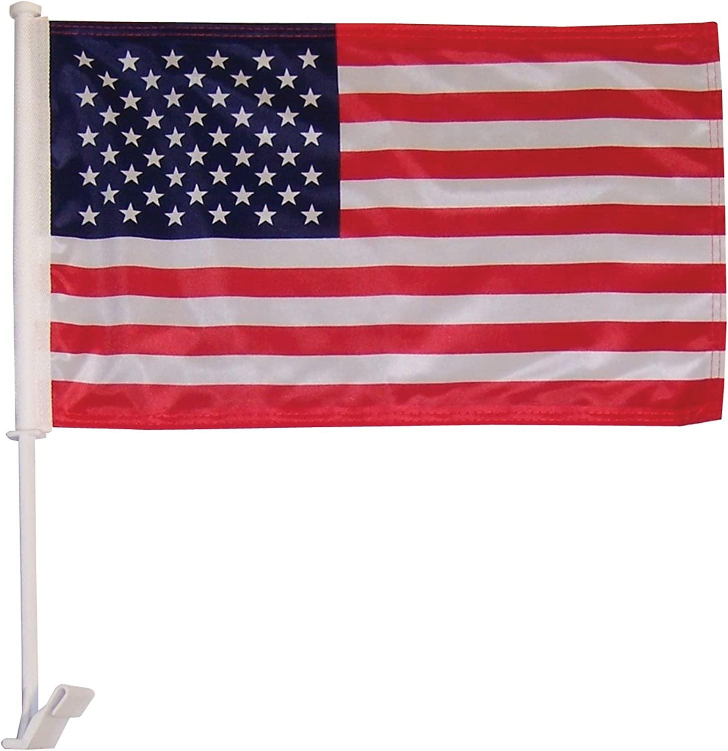 In the Breeze U.S. Flag Car Flag - Double Sided - Hooks onto Car Window