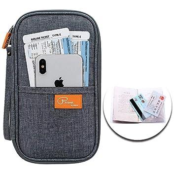 P.travel Portefeuille Passeport avec Dragonne Anti RFID Organisateur de  Voyage Grande Capacité Porte- b8bcb4cdfa6
