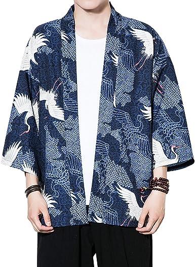 Zhuhaitf Verano Cloak Cárdigan Kimono Japón Capa para Hombres ...