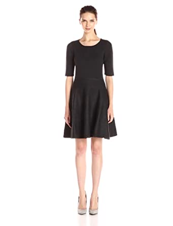 Ivanka Trump Women's Elbow Sleeve Fit and Flare Sweater Dress, Black/Heather  Charcoal,