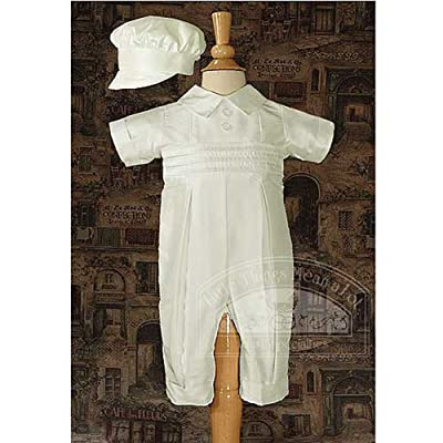 Baby Boys White Silk Pleated Christening Baptism Coveralls Set 3-12M