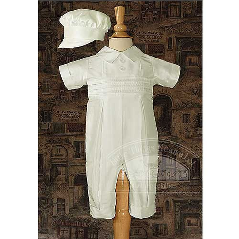 Baby Boys White Silk Pleated Baptism Coveralls Set 3M