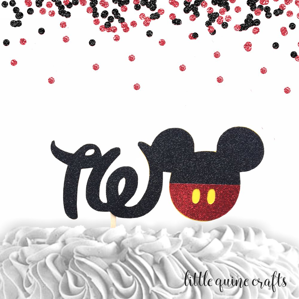 1 pc TWO Mickey Mouse Head Red Black Glitter Cake Topper for second Birthday Toddler boy
