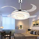 RS Lighting Modern Fashion Low Profile Ceiling Fan with Chandelier -for Indoor Living Dining Room Bedroom Crystal Chrome Ceiling Fan Light Kit (42-Inch, White)