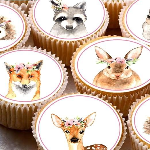 24 Kuchen Topper 4 Cm Auf Zuckerguss Cupcake Bilder Aquarell
