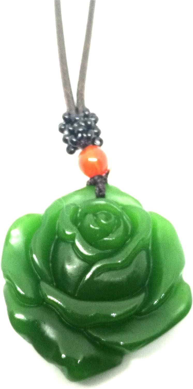 Natural verde Jade rosa collar colgante cuero cuerda suerte amuleto