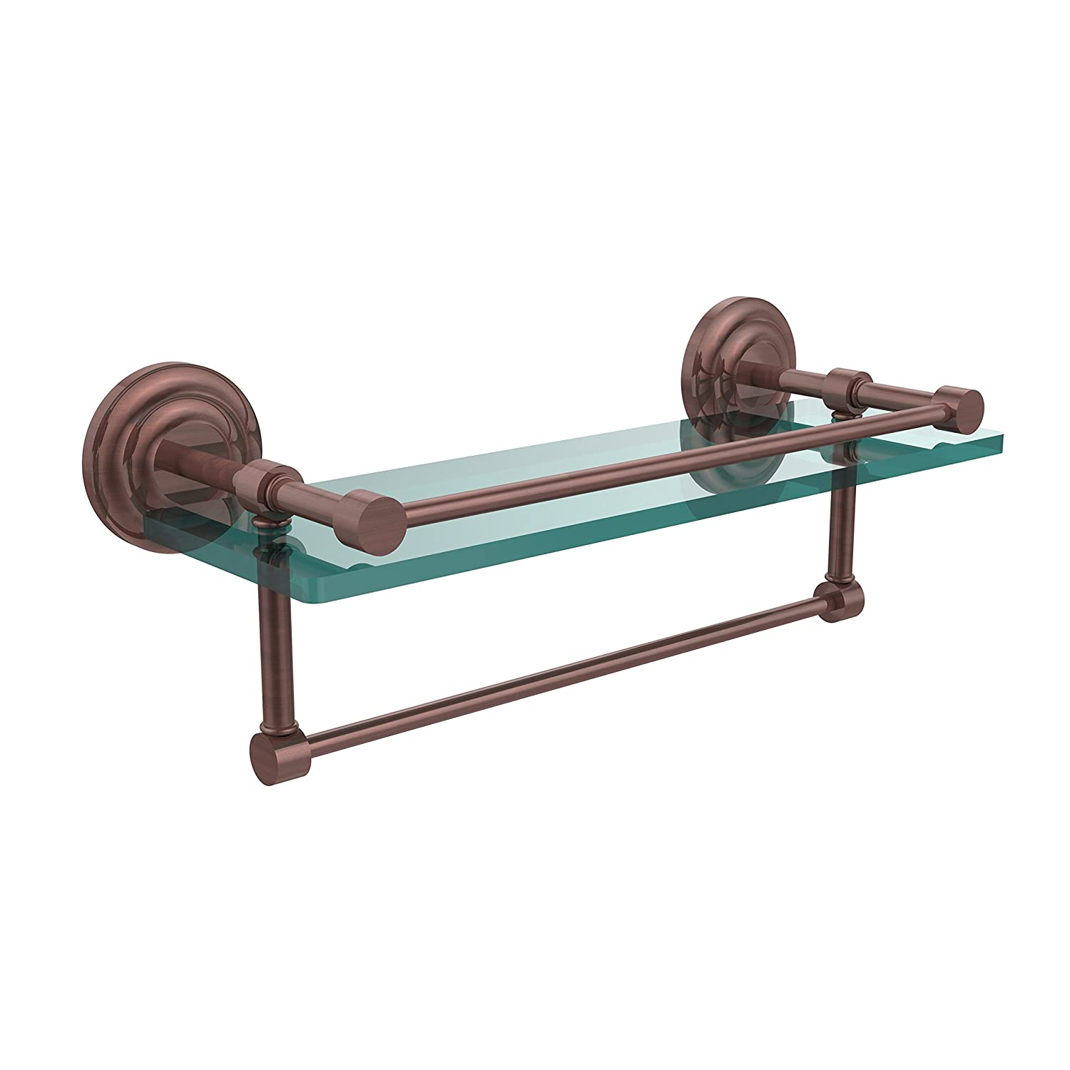 Allied Brass QN-1TB 16-GAL-CA 16 Inch Gallery Glass Shelf with Towel Bar Antique Copper