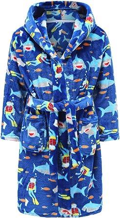 Boys Bathrobes Toddler Kids Hooded Robes Soft Plush Fleece Pajamas Sleepwear for Boys /& Girls