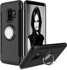 Samsung Galaxy S9 Plus Armor Case Shockproof Silicone PC Hard Back Cover with Grip Ring Holder
