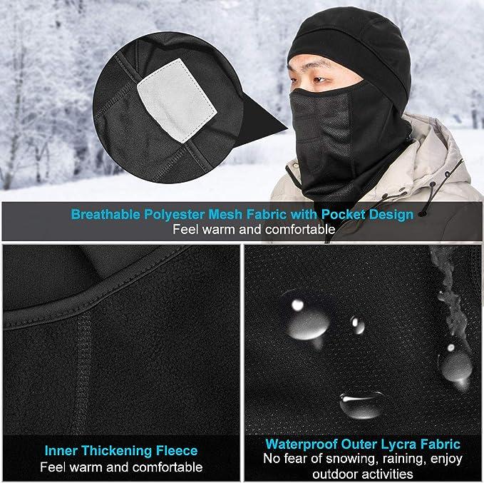 Hutigertech Sturmhauben Wasserdicht Skimaske Winddicht Gesichtsmaske Für Kaltes Wetter Fleece Skimaske Vollgesichtsmaske Für Mann Und Frau Skifahren Motorrad Outdoor Sport Bekleidung