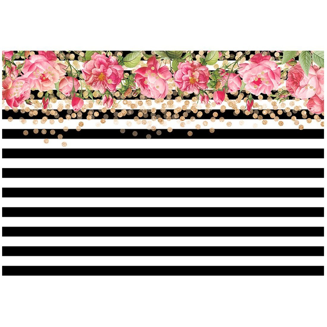 Toogoor 7x5ft photography backdrops black and white stripe watercolor pink flower banner birthday party wedding bridal shower decoration photo studio