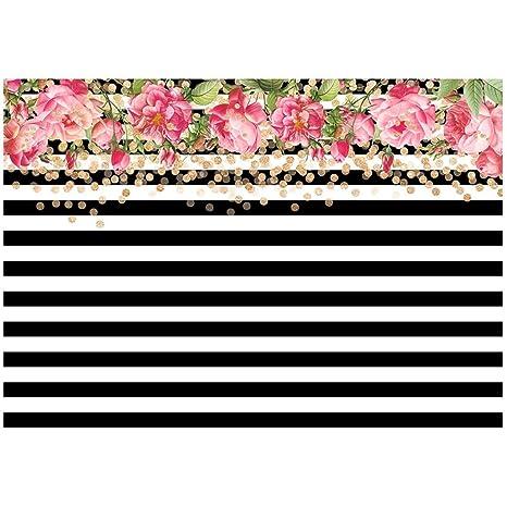 TOOGOO(R) 7 x 5ft fotografía fondos negro y blanco rayas ...