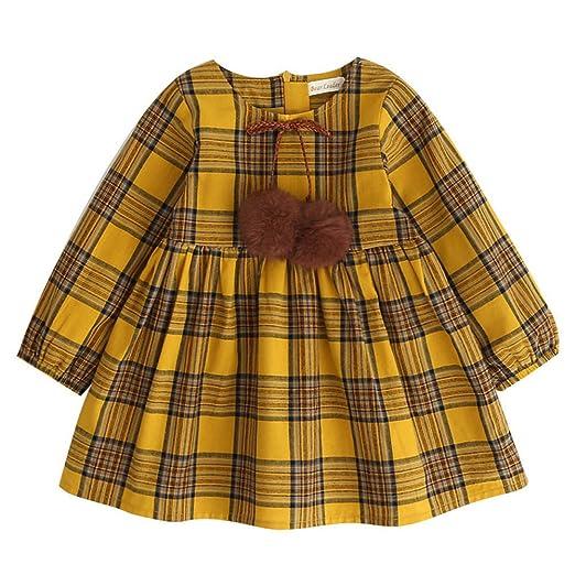 57e7f6982 Amazon.com  Birdfly Toddler Girls Plaid Long Sleeve Playwear Dress ...