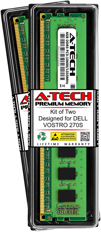 A-Tech 8GB (2 x 4GB) RAM for DELL VOSTRO 270S | DDR3 1333MHz DIMM PC3-10600 240-Pin Non-ECC UDIMM Memory Upgrade Kit